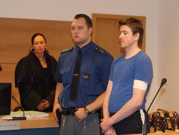Obžalovaný Martin Homolka u Krajského soudu ve Zlíně při vynesení rozsudku