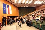 Návštěva prezidenta Miloše Zemana. Setkání se studenty Univerzity Tomáše Bati.