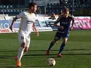 Zlínský záložník Daniel Holzer (v bílém dresu) vstřelil proti Jihlavě svůj druhý letošní gól. Ševci nakonec s Vysočinou remizovali 1:1