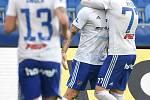 Utkání 12. kola první fotbalové ligy: Baník Ostrava - Fastav Zlín, 5. října 2019 v Ostravě. Na snímku (zleva) Tomáš Smola, Martin Fillo a Rudolf Reiter.