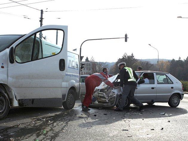 Nehoda v centru Zlína