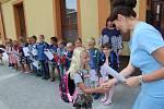 Slavnostní vítání prvňáčků Základní školy Žlutava a zahájení jejich prvního školního roku dne 2. září 2019.