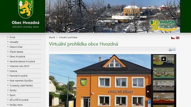 Web obce Hvozdná