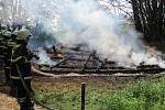 Požár kůlny v Kateřinicích na Vsetíně.