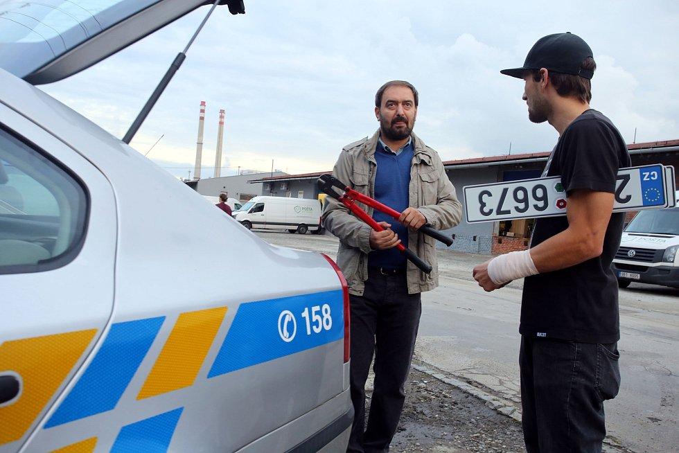 Natáčení filmu Metanol ve Zlíně.Petr Jalíček