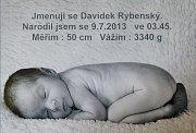 David Rybenský, 9. 7. 2013, 50 cm, 3340 g, Zlín.