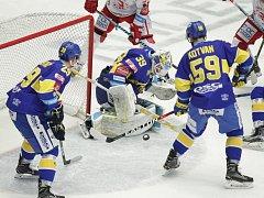 Utkání 48. kola hokejové extraligy: HC Oceláři Třinec - PSG Zlín, 19. února v Třinci.