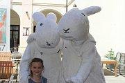 Šestnáctiletý Jakub Vořechovský ze Zlína (Bobek, je menší) a devatenáctiletý Alexander Mahdal (Bob, je vyšší) ze Zlína tráví festivalové dny v kostýmech Boba a Bobka, králíků z klobouku. Oba se shodují v tom, že práce maskota v nynějších vedrech je  hodně