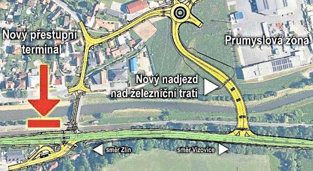 VELKÉ ZMĚNY. Doprava v Příluku se výrazně promění. Vznikne nové napojení směrem k průmyslovému areálu a vznikne i nový přestupní bod pro cyklisty, městskou, meziměstskou a železniční dopravu.