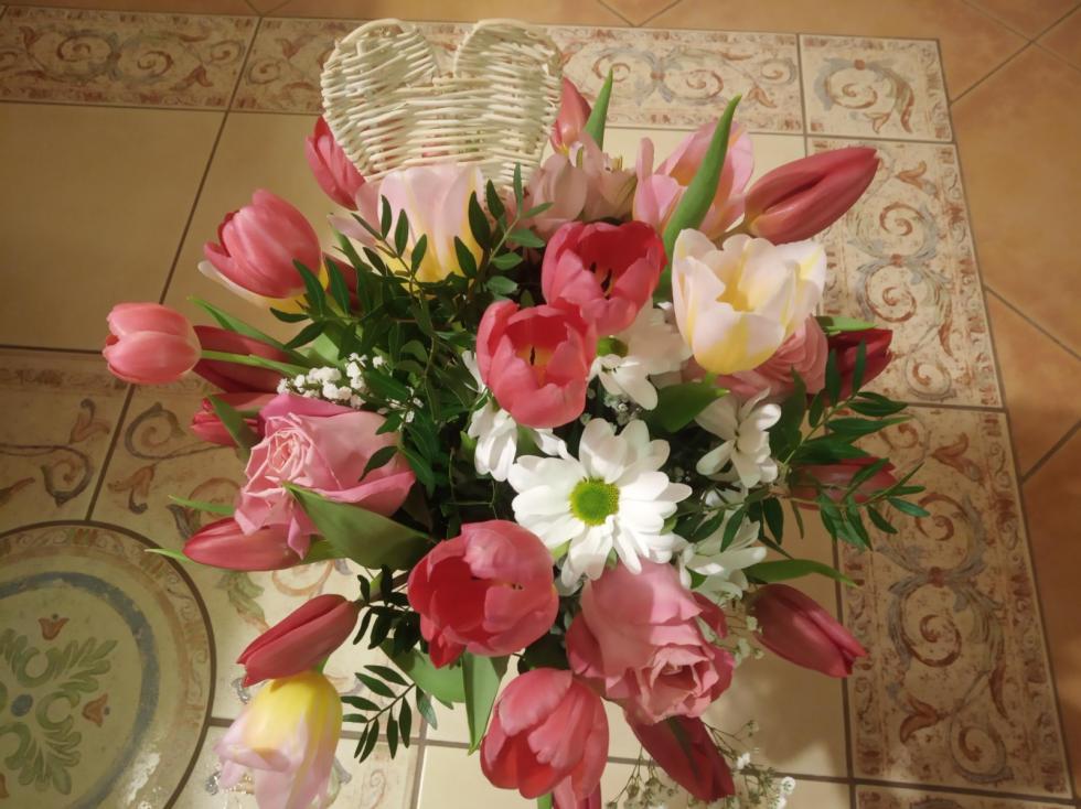 Valentýnská kytice od mého manžela.