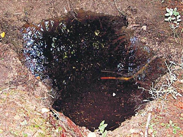 Jáma, v níž byly pytle s částmi těla zakopány.