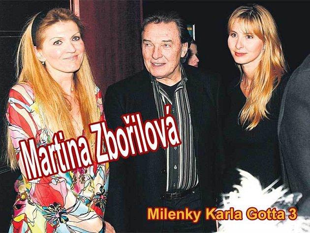 Karel Gott s Martinou Zbořilovou (vlevo) a současnou přítelkyní Ivanou Macháčkovou