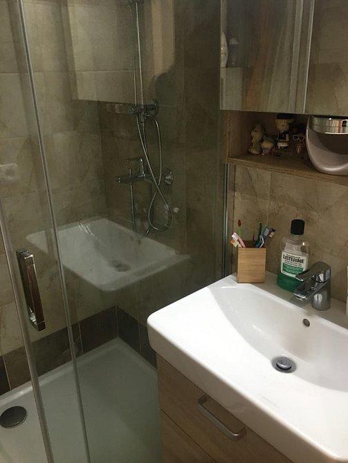 V koupelně dříve byla vana, ale Aneta si to nakonec nechala přebudovat na sprchový kout.
