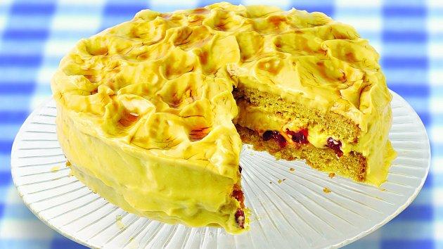 Brusinkový dort spudinkem
