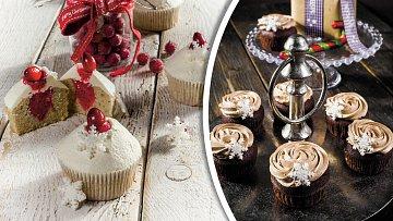Pomerančové cupcakes s brusinkami a dortíčky s kaštanovým krémem