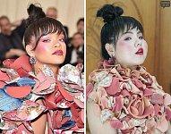 A jejím extravagantním šatům se přiblížíte nakrájeným herkulesem.