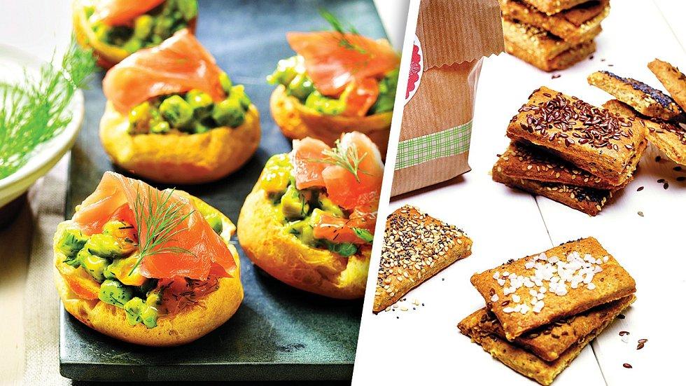 Avokádovo-lososové mističky a sušenky se semínky