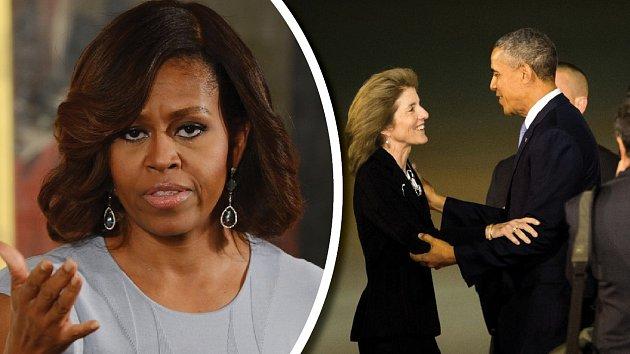 Michelle zuří, Obama se měl spustit s Caroline Kennedy.