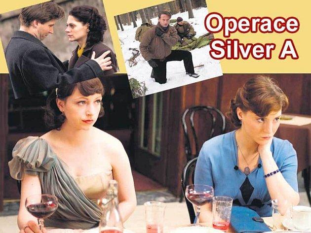 Tatiana Vilhelmová (vlevo) a Lenka Krobotová v televizním filmu Operace Silver A. Vlevo nahoře: David Švehlík a Klára Issová. Vpravo nahoře: Jiří Dvořák.