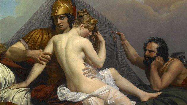 Héfaistos přistihl Afroditu s Áresem.