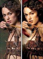 Plakát k filmu Král Artuš. Vlevo původní snímek, vpravo upravená verze.