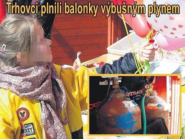 Na letošních trzích se balonky prodávaly na dvou místech přímo na Horním náměstí. Ve výřezu: Tyto tlakové lahve zabavili hasiči trhovcům na opavském náměstí. Nyní zjišťují, jaký plyn obsahují.