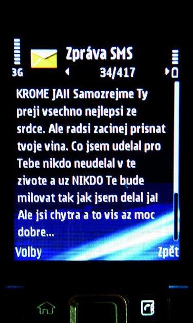 Tuto esemesku dostala Bartošová předminulý týden.
