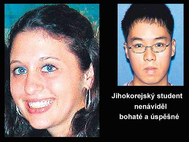 Zavražděná studentka Emily Hilscher. Šílený střelec Čo Seung-Hui.