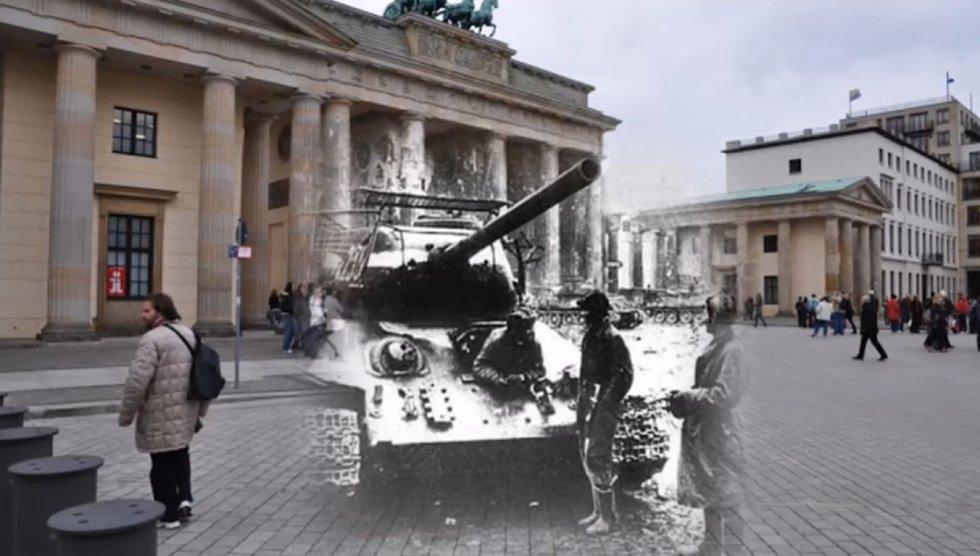 Braniborská brána během druhé světové války a dnes.