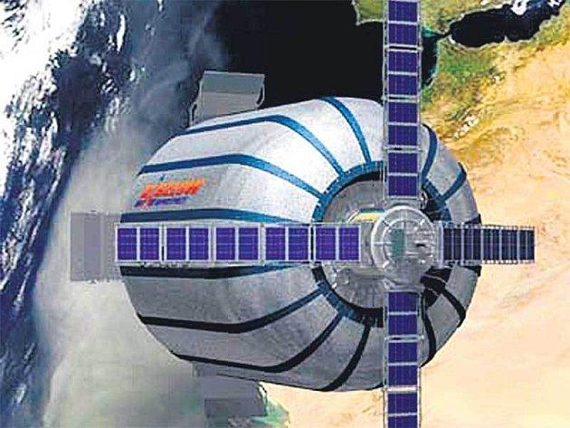 """Zkušební modul Genesis I. Technologie vyvinutá původně agenturou NASA umožňuje gumovému """"balonu"""" se po dosažení oběžné dráhy nafouknout do dvojnásobné velikosti."""
