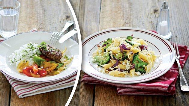 Hamburger spaprikami a těstoviny sbrokolicí