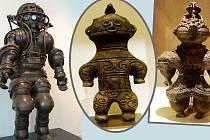 První potápěčský skafandr je opravdu podobný soškám dogu.