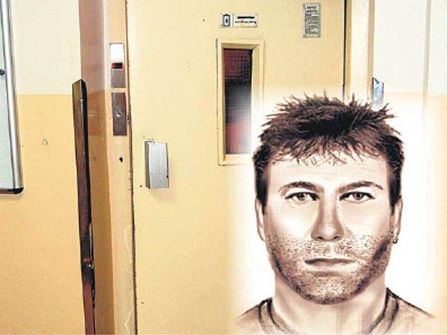 U tohoto výtahu na dívenku zaútočil. Zvrhlík má asi 175 cm vysokou silnější postavu, tmavé vlasy, vousy a v levém uchu kroužek z kovu.
