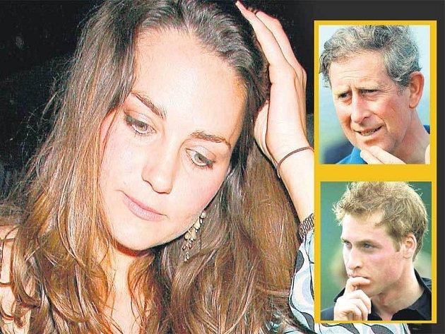 Zhořklá Kate. Mohla být princeznou. Ve výřezu nahoře princ Charles, dole William.