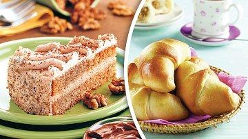 Rafinovaný dortík a ořechové rohlíčky