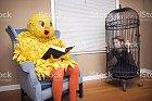 Obrovský pták čte knihu ženě v kleci