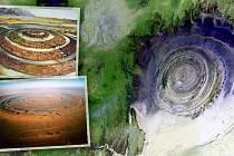 Letecké a satelitiní snímky Richatu se nápadně podobají bájné Atlantidě (vlevo nahoře).