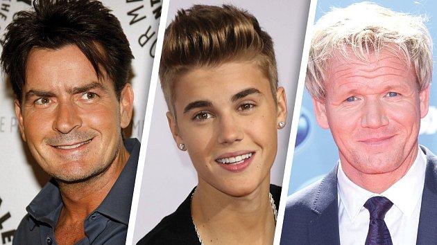 Charlie Sheen, Justin Bieber a Gordon Ramsay
