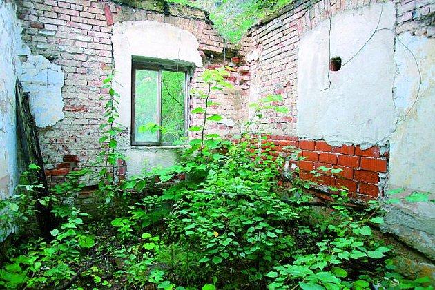 Střecha se už dávno propadla, vbývalé místnosti raší bujná vegetace.
