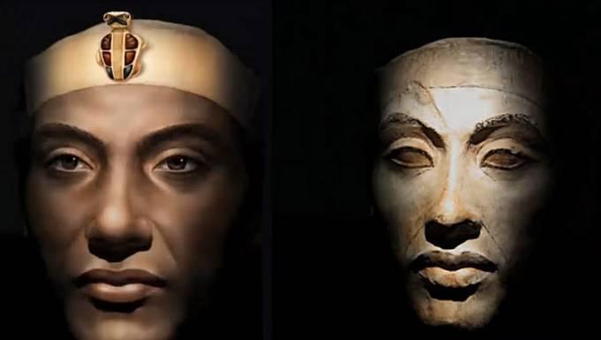 Vizualizace Achnatona, jednoho z egyptských faraonů.