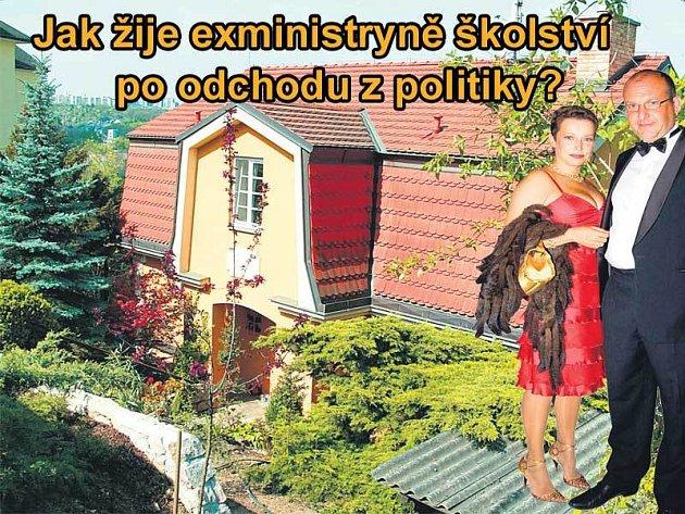 Honosná vila Petry Buzkové a jejího manžela Josefa Kotrby v Praze - Braníku.