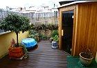 Na útulné terase nechala Olga vybudovat saunu.