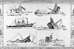 Kresba Johna B. Thayera, která byla nalezena na lodi Carpathia. Zaznamenal průběh potopení Titanicu.