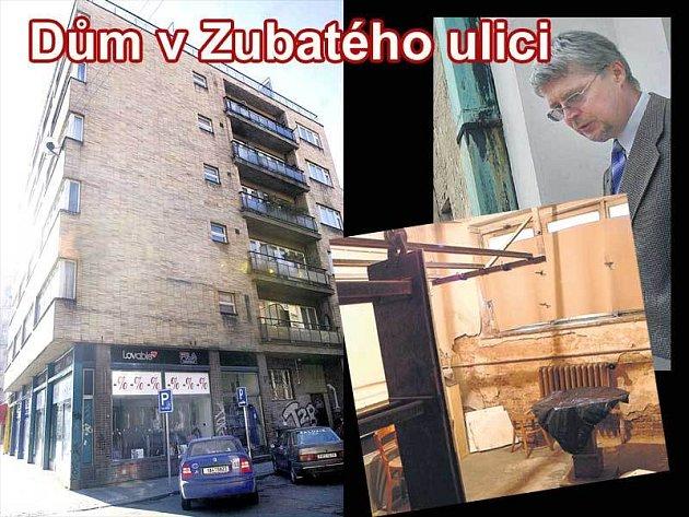 Dům v Zubatého ulici. Jan Chmela (vpravo nahoře) je stejně jako ostatní nájemníci odhodlaný bojovat dál. V dezolátním stavu stavu je i vnitřek domu (vpravo dole).