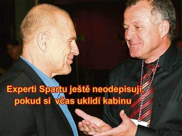 Upadl v nemilost! Jaroslava Hřebíka (vlevo) viní mnozí sparťanští fanoušci i někteří odborníci z toho, že svým někdejším návratem na Letnou započal současnou krizi týmu. Jako by se jeho umu vysmál i Werner Lička.