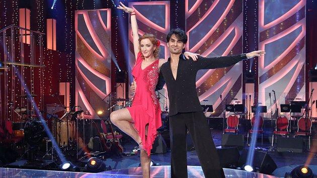 Radek Banga se svou taneční partnerkou.