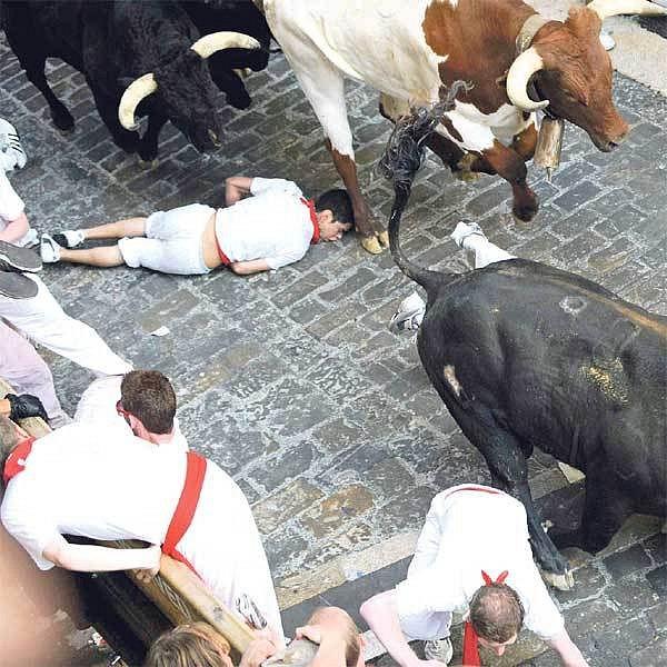 Půltunoví býci se ženou přímo přes těla diváků.