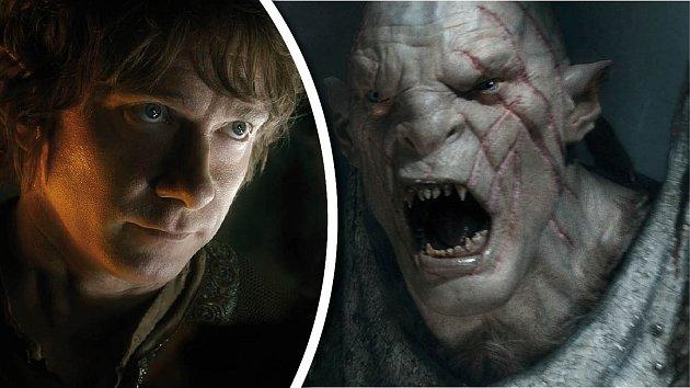 Hobit Bilbo v podání herce Martina Freemana a jeden z jeho protivníků - skřet.
