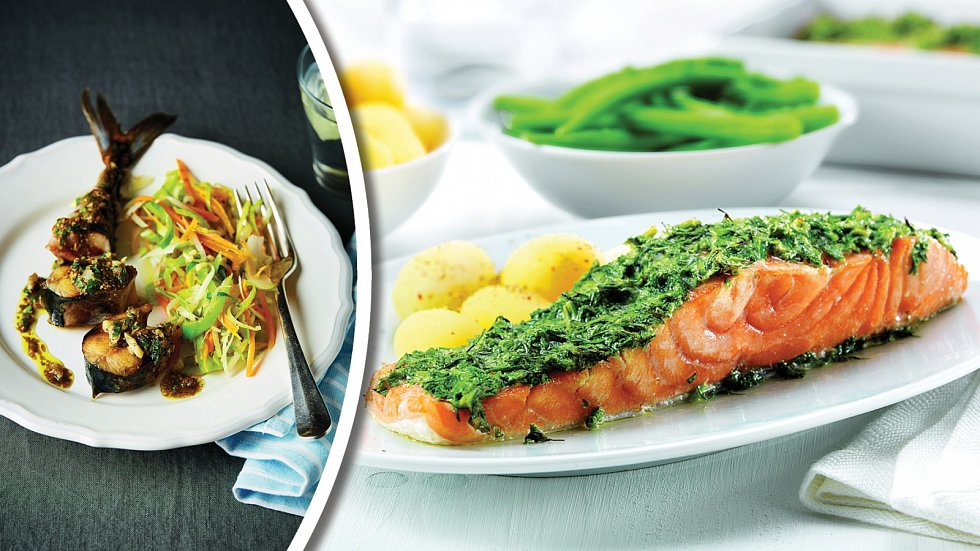 Kořeněná makrela a losos nakopru