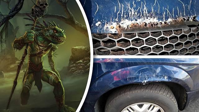 Copak asi poničilo tohle auto? Tajemný ještěrčí muž z bažin?